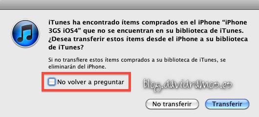 """No hay que marcar el check de """"No volver a preguntar"""" en la advertencia de transferir compras del iPhone"""