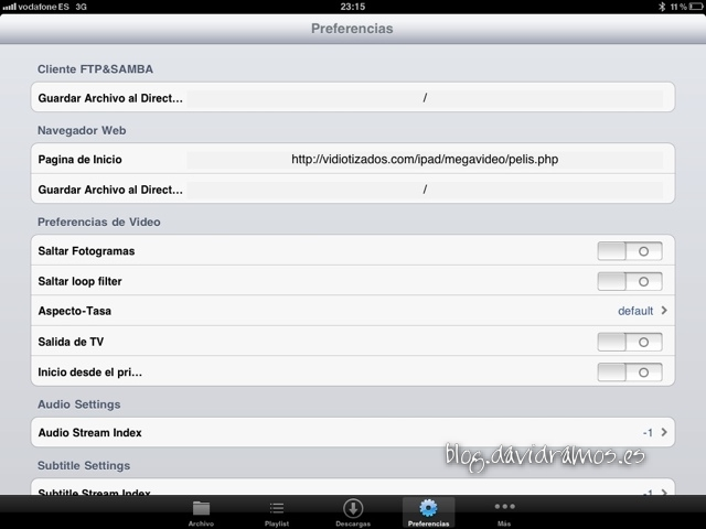 Pantalla preferencias de oPlayer HD Lite