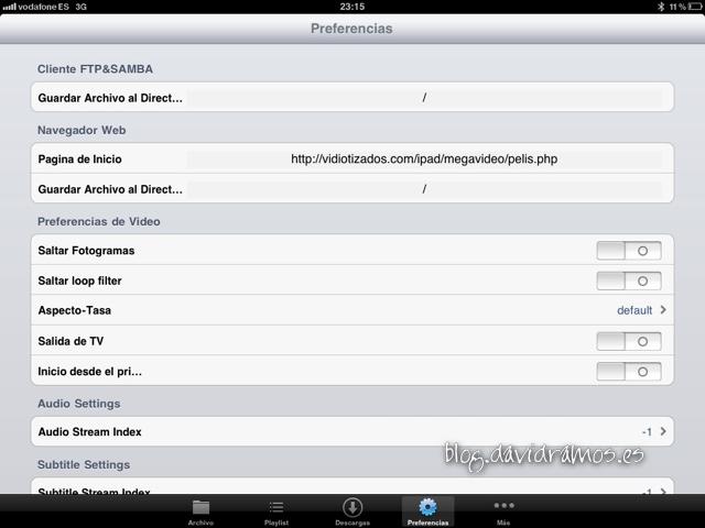 Pantalla preferencias de oPlayer HD Lite