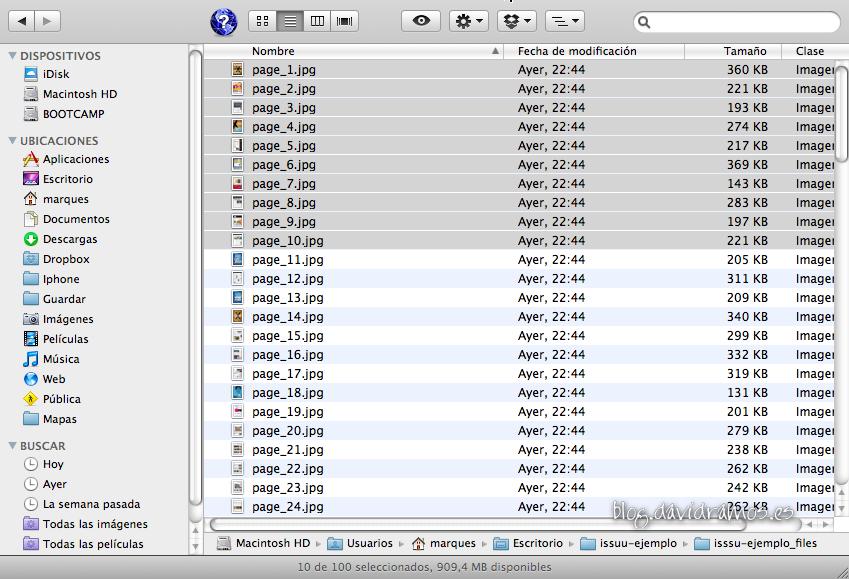 Desde el Finder, selecciona todas las imágenes que quieres que formen el PDF.