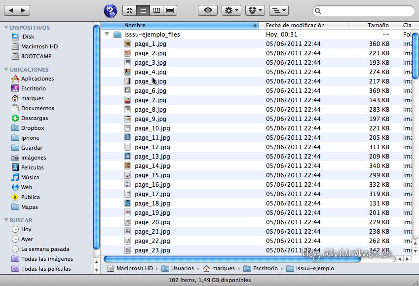Resultado en disco de los archivos de la página web en JPG